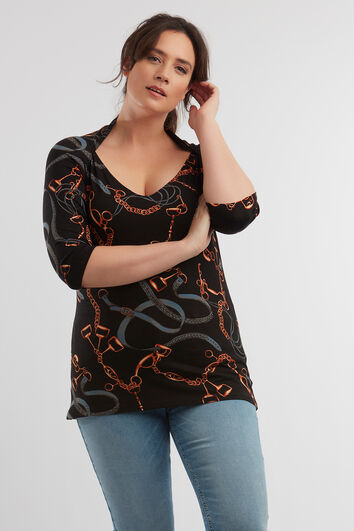 Top met kettingprint