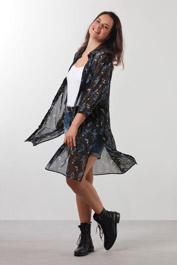 Transparante blouse met bloemenprint