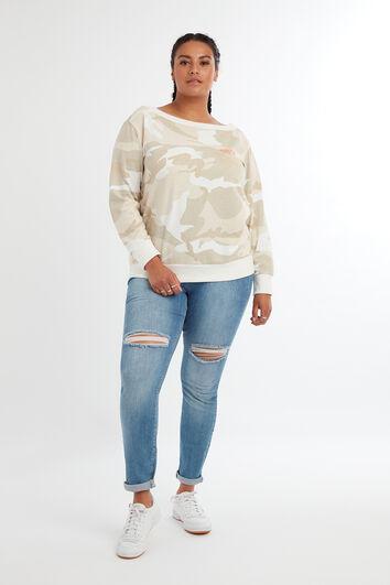 Off-shoulder sweater met camouflage print