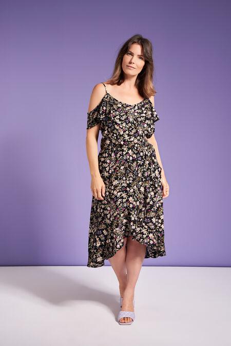 Overslag jurk met cold shoulder