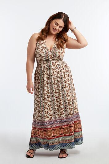 Lange jurk met halterdetail