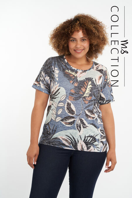 T-shirt met bladerprint