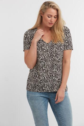 T-shirt avec col en V et imprimé léopard
