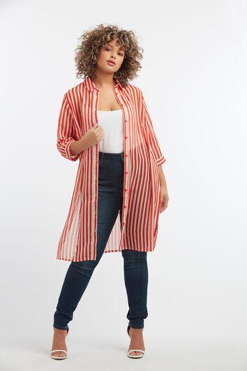 Transparante blouse met strepen