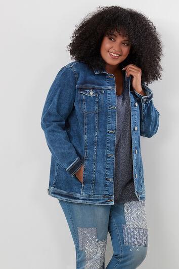 Lang oversized jeansvest