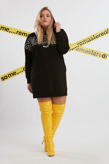 Sweaterdress met rubberopdruk