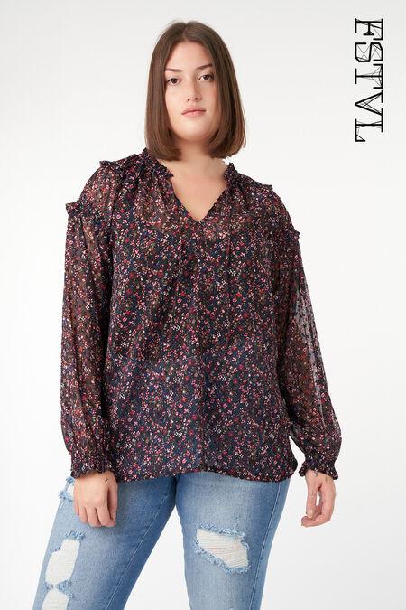 Semi transparante blouse met ruffle