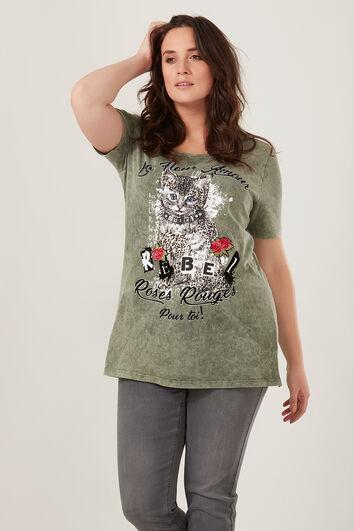 T-shirt avec imprimé chat