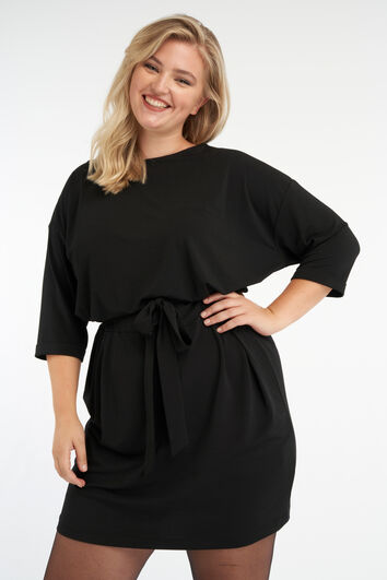 Jersey jurk met strik ceintuur