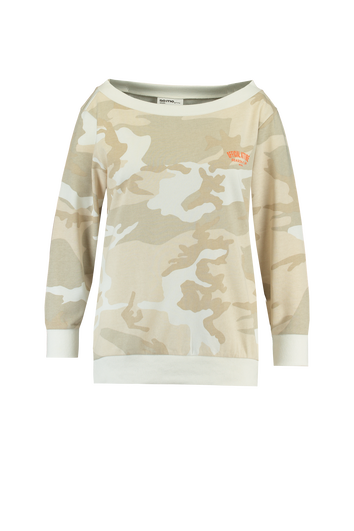 Off-shoulder sweater met camouflage print