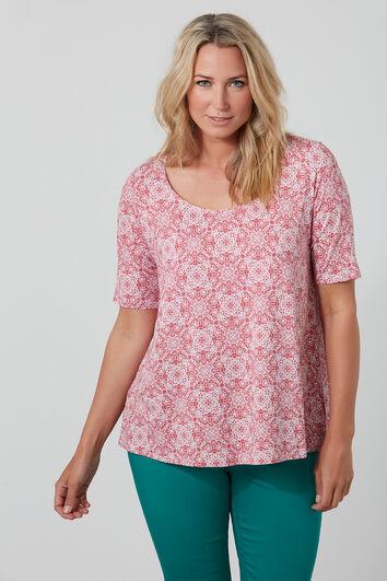 T-shirt imprimé avec ourlet asymétrique