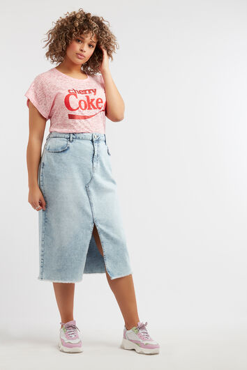 Denim rok in midi-lengte