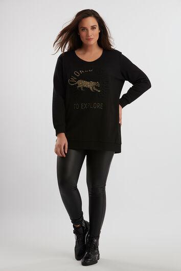 Lange sweater met embossed artwork