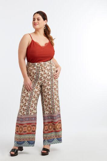 Wijdvallende broek met print