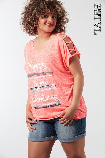 T-shirt met schouderdetail