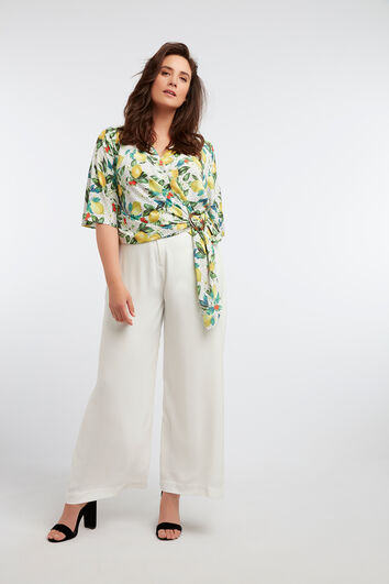 Wijdvallende broek met linnen look
