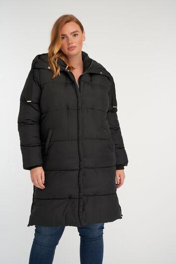 Long manteau matelassé à capuche