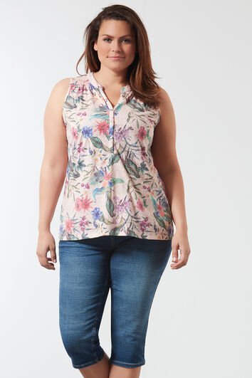 Mouwloze top in all-over print