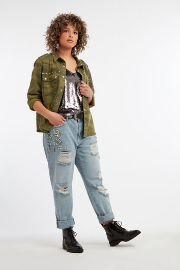 Boyfriend jeans met strass