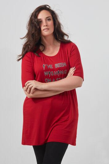 Lang T-shirt met tekst en rijgdetails